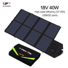 ALLPOWERS Portátil Plegable Panel Solar Cargador 40W18V 5 V Dual Puertos Cargador Solar para el Teléfono Tablet Laptops y 12 V La Batería del coche.