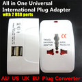 1000W All in 1 Universal International Plug Adapter,World Travel AC Power Charger Adaptor,AU US UK EU Converter with 2 USB Port
