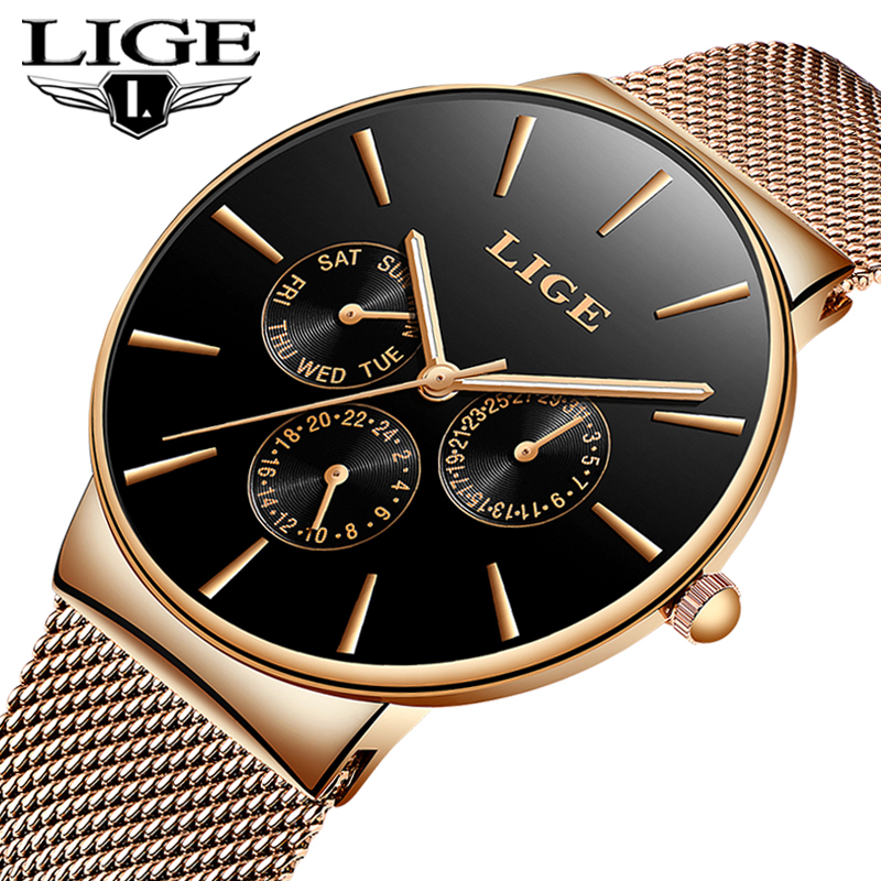 LIGE Top Luxury Brand Quartz Watch Business Men Watch Casual Sport Quartz Wrist Watch Simple Style Mesh Stainless Male Clock