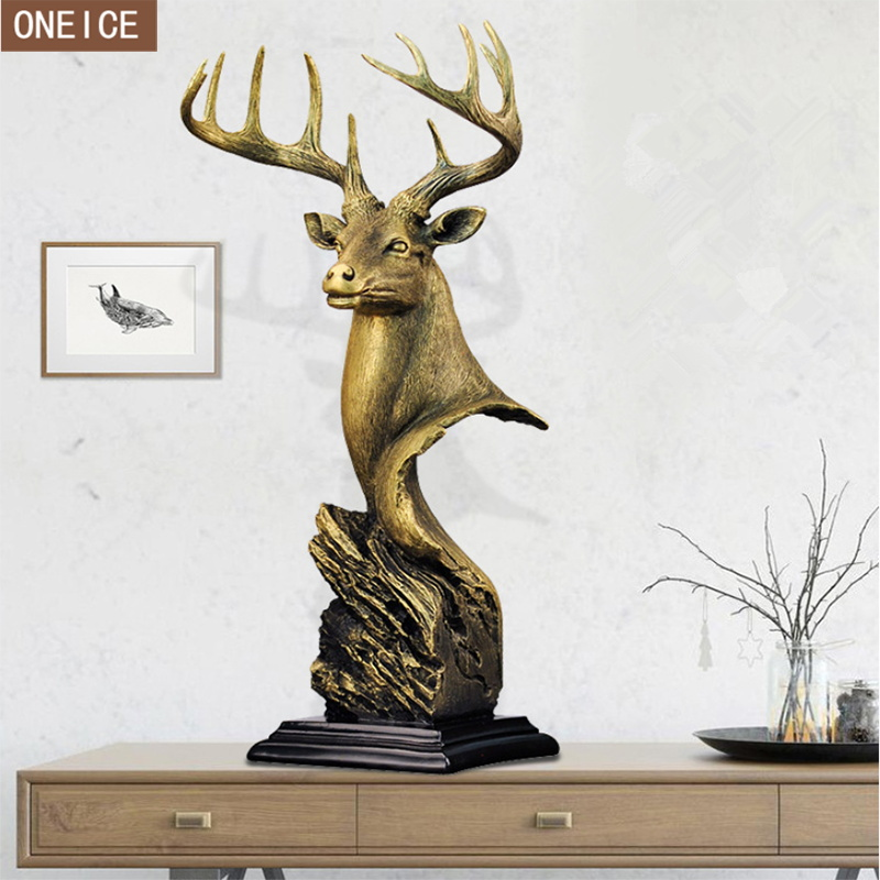 Nordic Deer Head Sculpture Resin Domineering Statue Animal Home Decoration Accessories Deer Living Room Decoration Crafts Statue