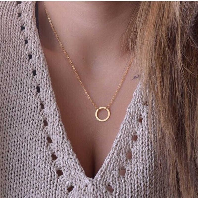 2019 New Hot moda złoty kolor koło wisiorek naszyjnik Maxi oświadczenie Bijoux Chokers naszyjniki dla kobiet biżuteria