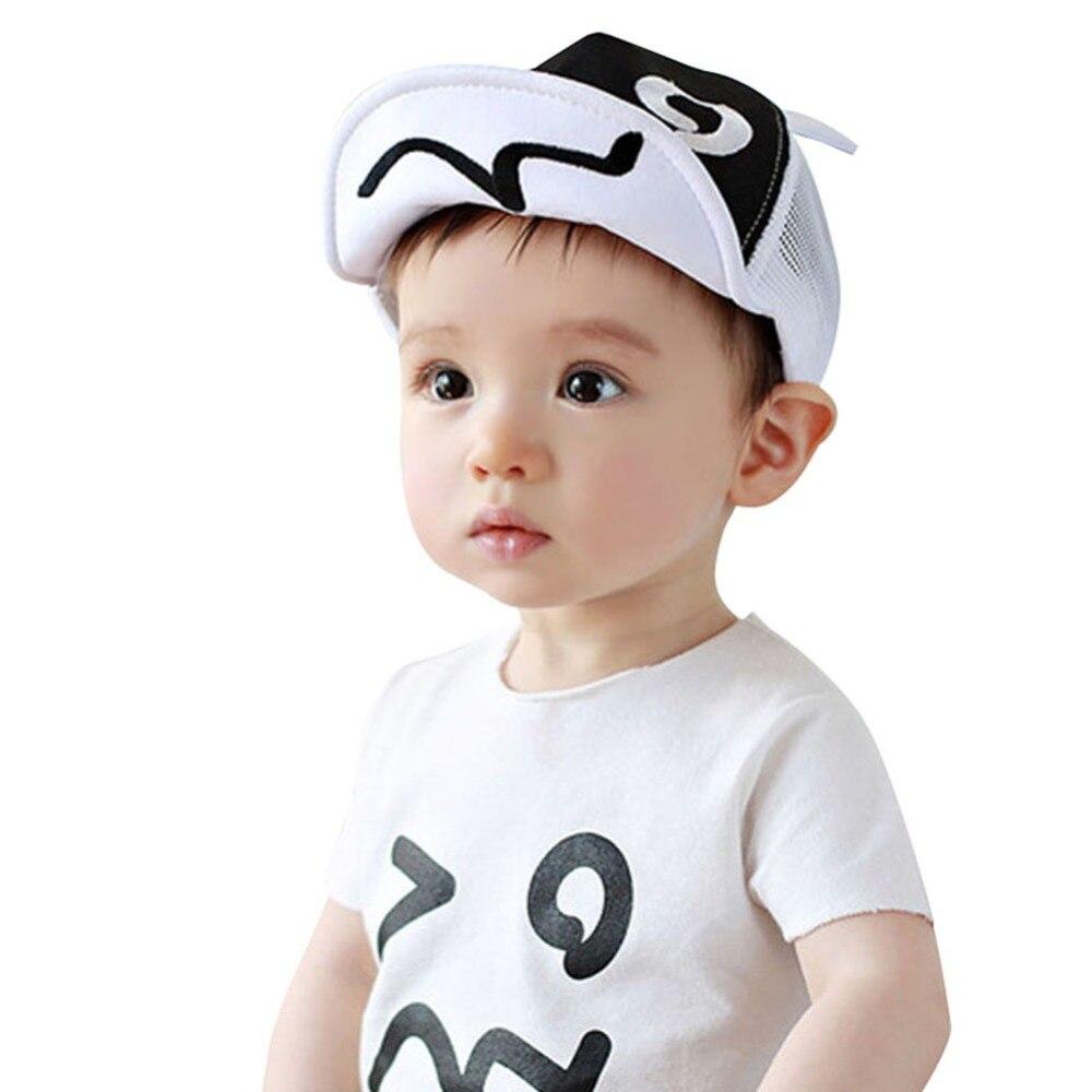 Детские для мальчиков и девочек Бейсбол шляпа Blink глаз с ушками Стиль из сетчатой ткани Шапки Регулируемый Snapback малыша Защита от солнца ...