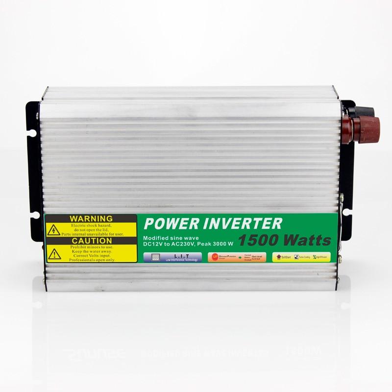 MAYLAR@ 12VDC 1500W Modified Sine Wave AC 110V or 220V  Car Power Inverter Converter Power Solar inverters Off grid tie system maylar 1000w solar grid tie inverter with limiter dc45 90v to 110v or 230v ac mppt pure sine wave power inverter