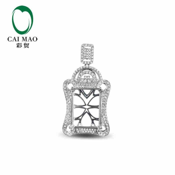 CaiMao Semi Mount  Pendant Emerald cut Settings & 0.76 ct Diamond 18k White Gold Gemstone Engagement Fine JewelryCaiMao Semi Mount  Pendant Emerald cut Settings & 0.76 ct Diamond 18k White Gold Gemstone Engagement Fine Jewelry