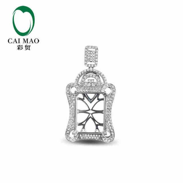 Caimao semi mount pendant emerald cut settings 076 ct diamond 18k caimao semi mount pendant emerald cut settings 076 ct diamond 18k white gold gemstone engagement aloadofball Images