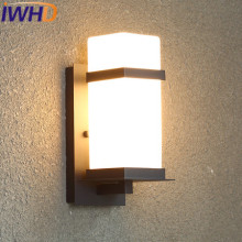 IWHD Out Door Glass Modern Wall Lamp LED Simple Iron Wall Sconce Aisle Stairway Waterproof Home Lighting Fixtures Iron Arandela(China)