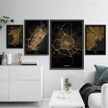 Póster Artístico de lienzo de viaje con mapa de oro de la ciudad del mundo moderno de Amsterdam Barcelona, cuadro de pared, póster y impresiones para decoración del hogar