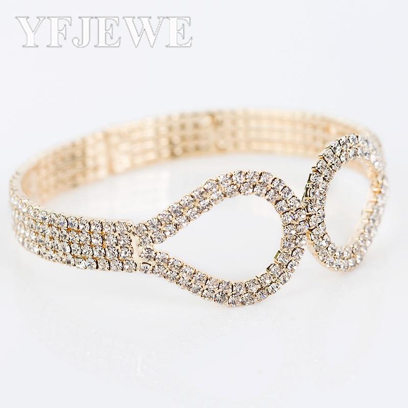 YFJEWE nová módní luxusní drahokam náramek rakouský křišťál zápěstí čtyři řady náramky pro ženy šperky B068