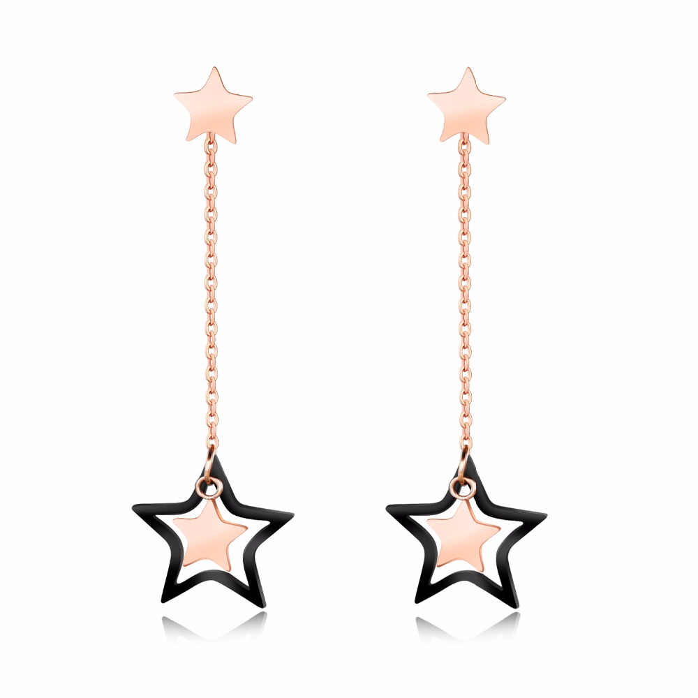 Personalized Stars Rose Color Drop Earrings For Women Long Tassel Dangle Earrings To Girl Jewelry Gift Dropshipping GE402