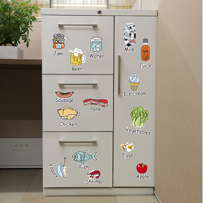 [SHIJUEHEZI] Food Vegetable Kitchen Sticker Vinyl Material Cute Decals for Dining Room Cupboard Fridge Glass Window Decoration