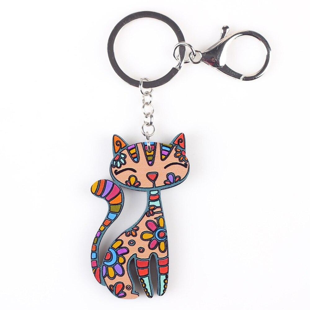 Bonsny Cat Keychain New 2016 Acrylic Pattern Charm Cute Animal Fashion Jewelry For Women  Accessories