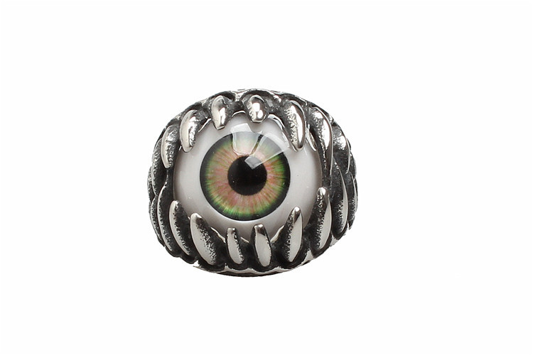 halloween decoration 1pcs creative hot sale men punk dragon claw blue evil eye skull stainless steel biker ring 5zhh043 - Metal Halloween Decorations