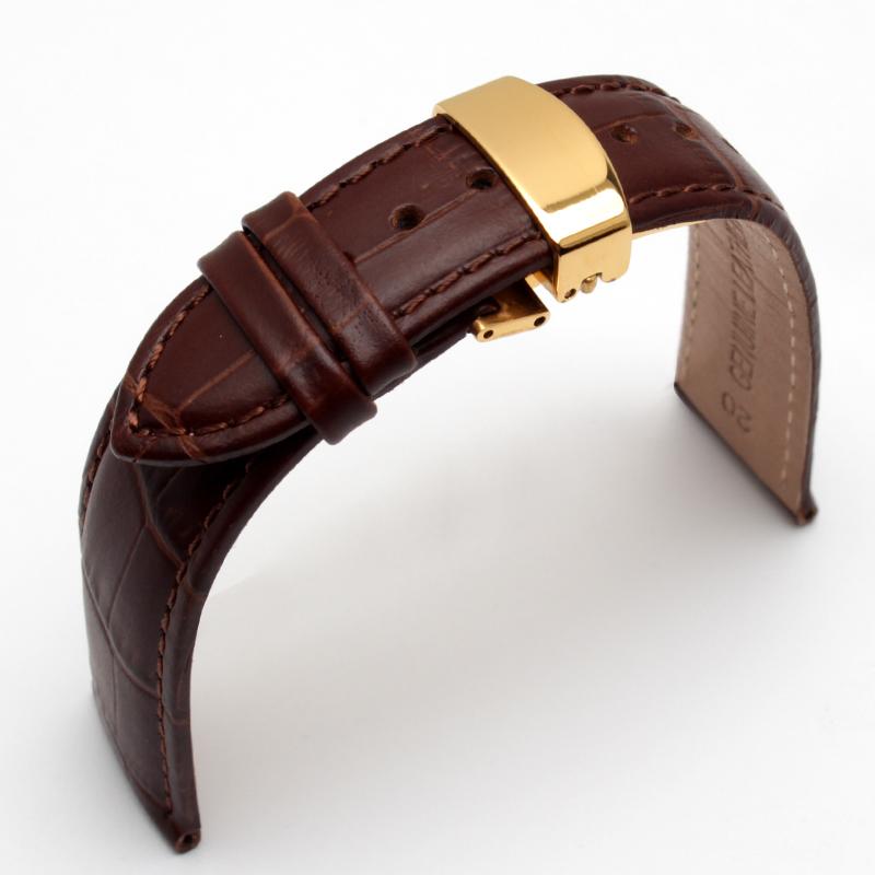 Prix pour Papillon Déploiement Fermoirs Bande de Montre 18mm 19mm 20mm 21mm 22mm Cuir Véritable Montre hommes Bretelles Bracelets Promotion BRACELET