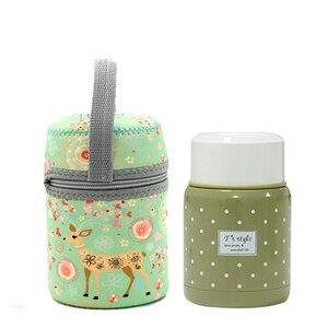 Image 4 - 350ml thermos inox cuillère pliante thermique boîte à déjeuner enfants termos coloré pot à soupe portable sac récipient alimentaire