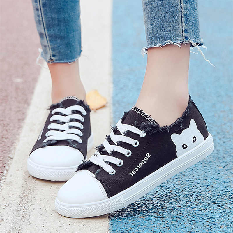 Cats Low Top Canvas Shoes Sneakers Flats Plimsolls Lace Up Casual Size US 5-11