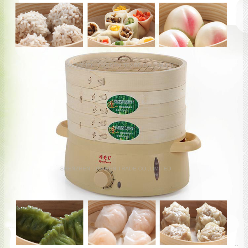 1pc high quality 6L mini green safe multilayer Bamboo products food steamer bamboo steamer electric steamer 220V 800W ...