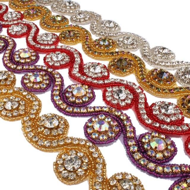 1Yard 3.3cm Fashion Sew On Base Crystal Rhinestone Applique Trim  Accessories Bridal Costume Beaded Dress Trimming Decoration 408347282260