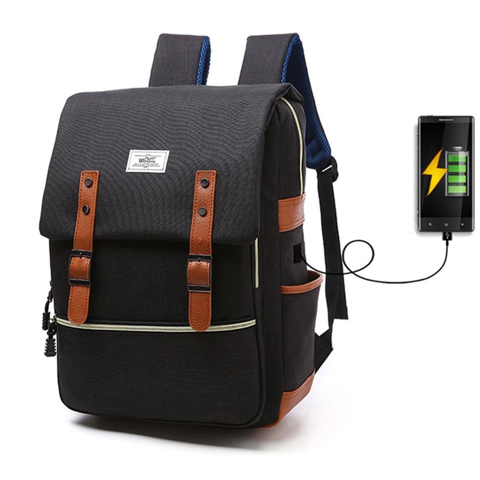 2018 Vintage Men Women Canvas Backpacks School Bags for Teenager Boys Girls Laptop Backpack with USB Charging Fashion Travel Bag (6)