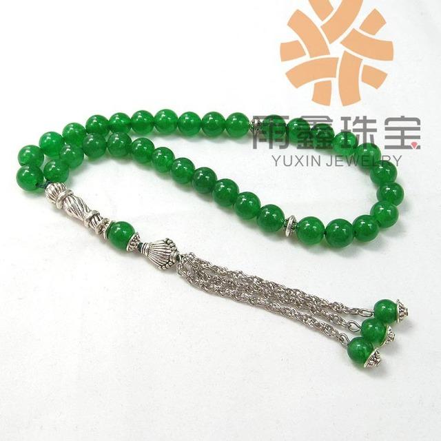 Verde Natural Ágata Pedra Forma Redonda de 33 contas de Oração Islâmica Muçulmana Tasbih frete grátis