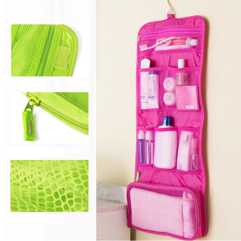 Canvas Hanging Folding Large Capacity Makeup Bag With Hook Home Toiletry Bags Men Women Storage Bag Travel Wash Pouch~