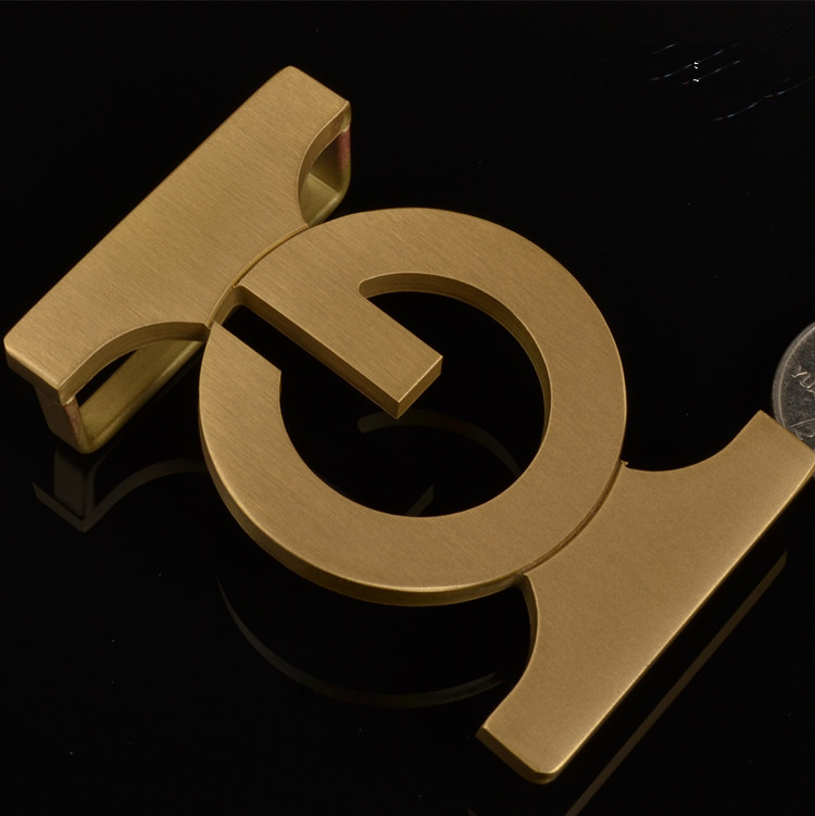 Mens pure Brass Belt Buckle letter plate buckle anti allergy belt buckle buckle smooth fashion 3.8