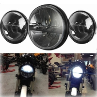 7 Projector Headlight Passing Light Fit Harley Softail Deluxe Slim Fat Boy FLD