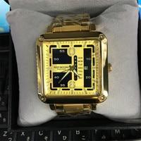 Grand cadran carré calendriers hommes Top Marque De Luxe quartz montre Hommes Sport Complet En Acier Étanche Montre-Bracelet relogio masculino