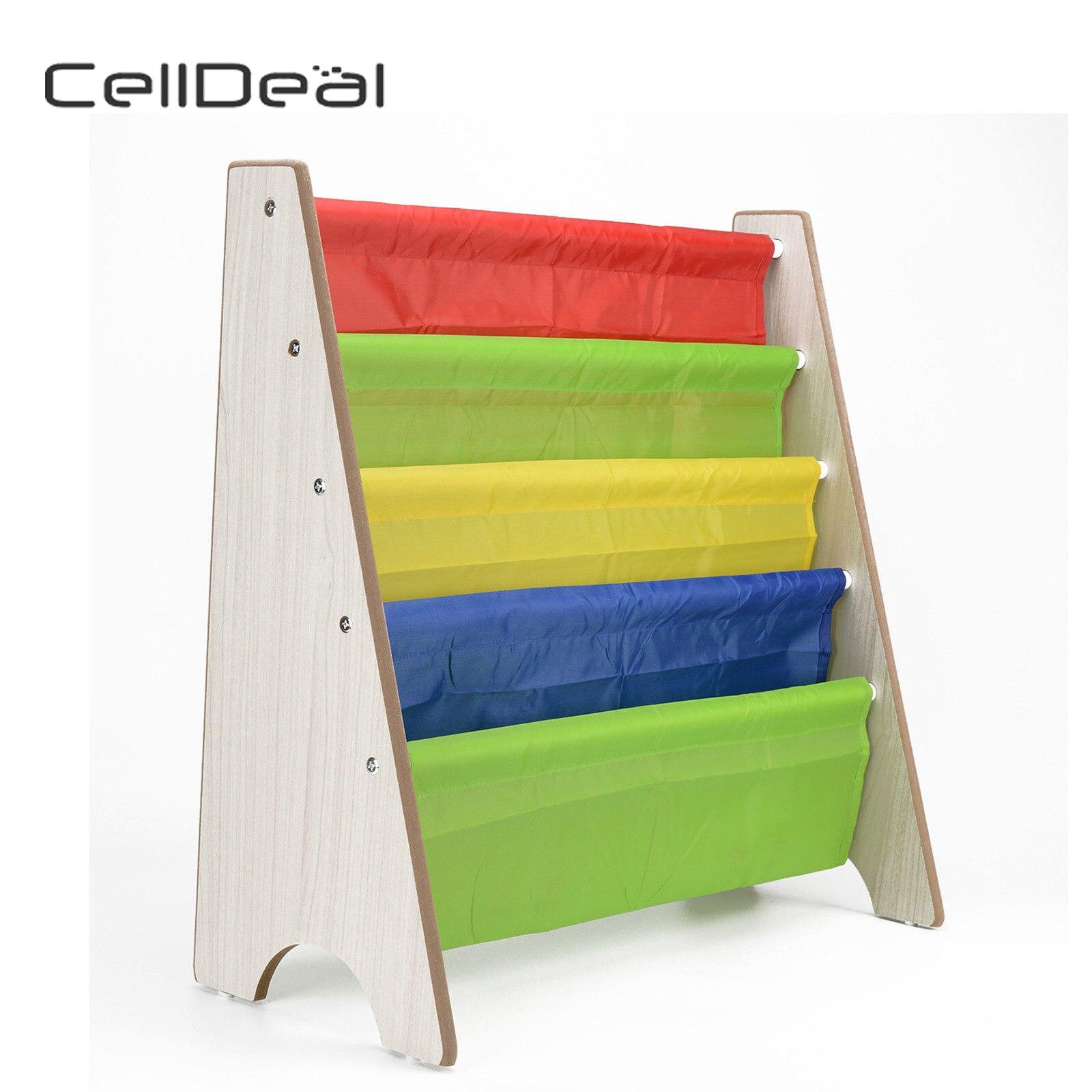 CellDeal Children Book Storage Rack Bookcase Bookshelf Tidy Bedroom Playroom Floating Shelf Bookcase Book Storage Ladder Shelf