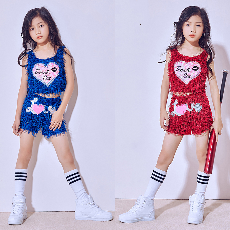 2018 Hip Hop Dance Costume Girls Children'S Day Tassel Vest Shorts Performance Wear Jazz Suit Kids Street Dance Clothing DN1804