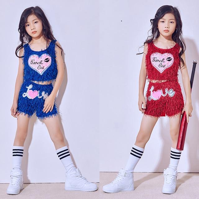 6dc0520d2101 2018 Hip Hop Dance Costume Girls Children S Day Tassel Vest Shorts ...