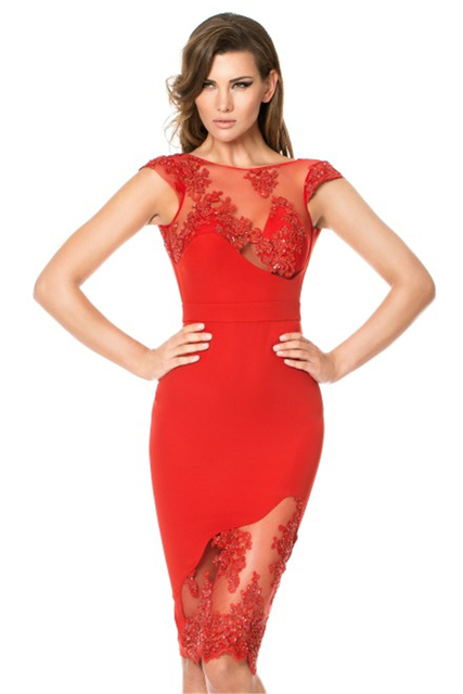 Aliexpress.com : Buy 2015 Superior Cap Sleeve Red Cocktail Dress ...