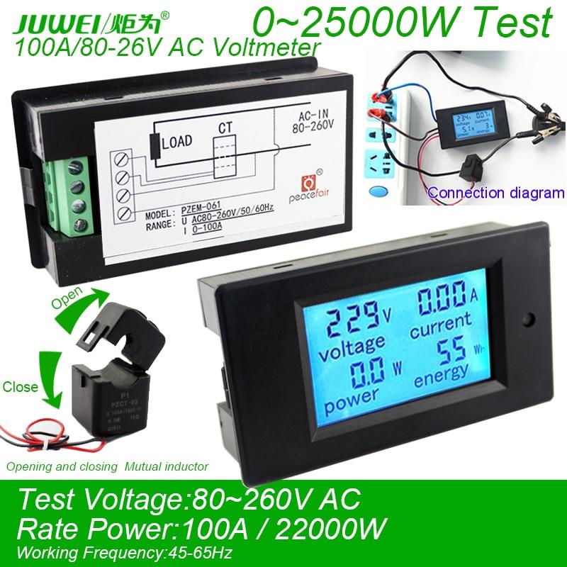 Digital AC Voltmeter Voltage Meters 100A/80~260V Power Energy analog  Ammeter watt current Amps Volt meter LED Panel Monitor  цены