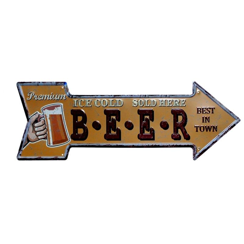 Restaurant Beach  Beer Bar Coffee Arrow Metal Irregular Tin Signs  - Home Decor - Photo 4