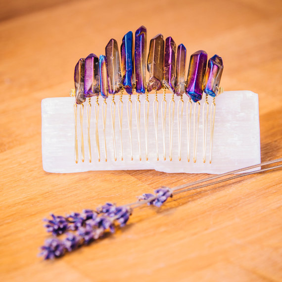 Natural Raw Cobalt Purple Blue Titanium Aura Quartz Crystal Gold Comb Bridal Hair Crown Accessories