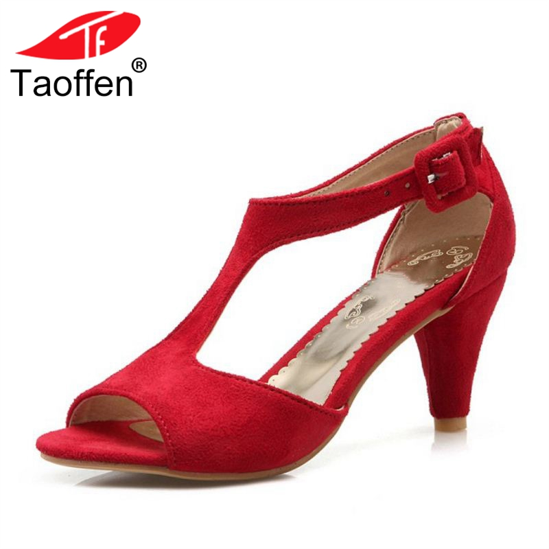 TAOFFEN 4 Colors Size 32-43 Women Sandals Open Toe Slip On Bowknot Thin Heel Women Summer Shoes Sexy Ornate For Party Footwear ...