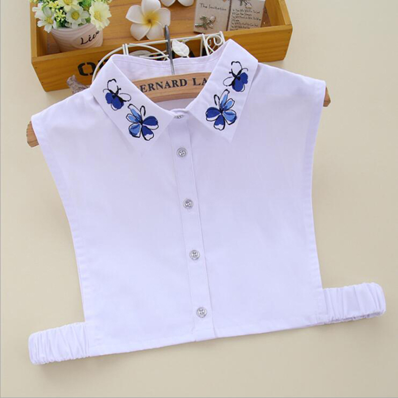 White Shirt False Collar Embroidery Quality Korean Fashion Blouse Detachable Collar Clothes Accessories