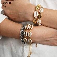 Canner Boho Jewelry Trendy Shell Bracelets For Women Girl Gold Color Handmade Charm Bracelet Bohemian Bangle pulsera mujer 2019