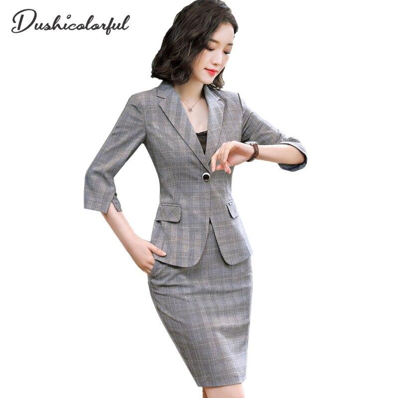 Dushicolorful 2 Pieces Set Fashion Plaid Suit Elegant Office Interview Work Wear Business Formal Women Lattice Blazer Skirt Suit