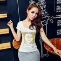 Mujeres moda de verano camiseta colorida lentejuelas Paillette letra C del escote redondo manga corta mujeres de la camiseta del envío libre