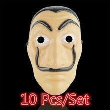10 יח\סט סלבדור דאלי פנים מסכת סרט כסף את בית של נייר La Casa De Papel קוספליי ליל כל הקדושים מפלגה