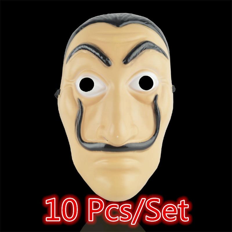 10 Pcs/Set Salvador Dali Face Mask Movie Money The House of Paper La Casa De Papel Cosplay Halloween Party Mask