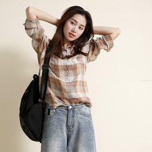 Women casual plaid literary