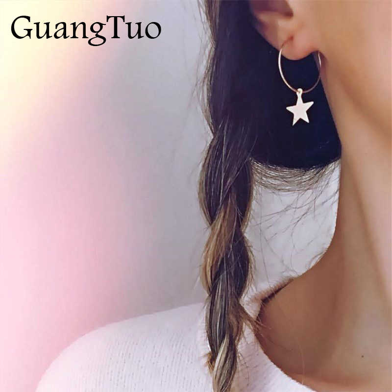 EK207 2019 Simple Gold Silver Color Star Stud Earrings for Women Round Earrings Personality Fashion boucle d'oreille pendientes