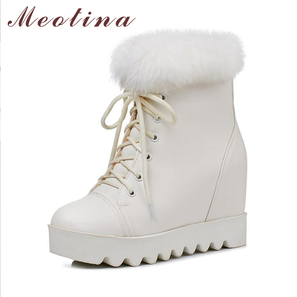 Meotina Winter Ankle Boots Snow Boots Plush Women Platform Wedge Heel Boots Real Rabbit Fur Lace Up High High Short Boots White