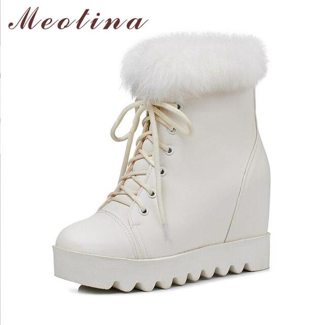 Meotina 冬のアンクルブーツ雪のブーツ豪華な女性プラットフォームウェッジヒールブーツ本物のウサギの毛皮レースアップ高高ショートブーツ白