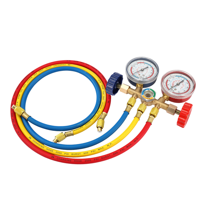 Refrigerant Manifold Gauge Air Condition Refrigeration Set Air Conditioning Tools with Hose and Hook for R12 R22 R404A R134A