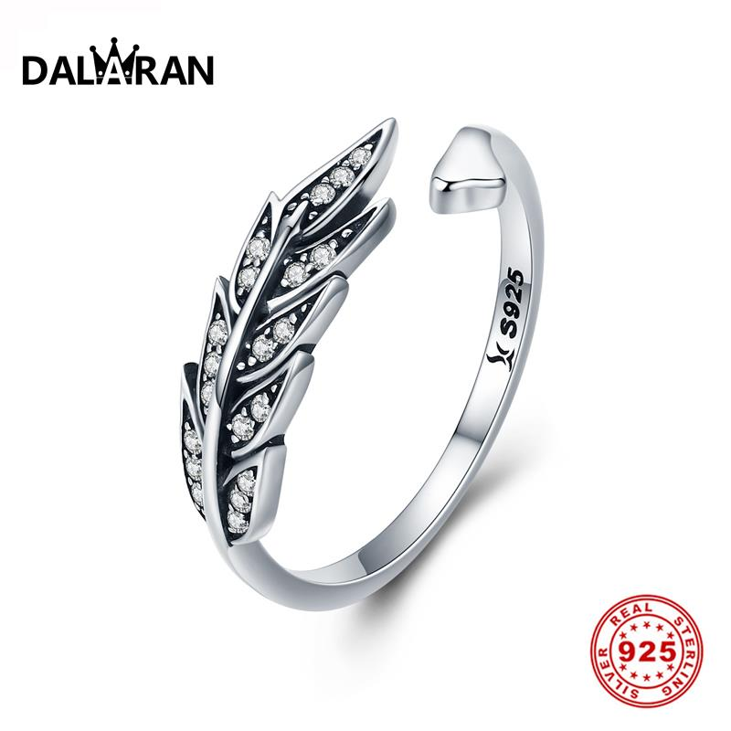 DALARAN 100% Real 925 Sterling Silver Rings Feather Wings Never Fade Adjustable For Women Wedding Anniversary Fine Jewelry Gift