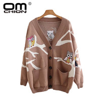 OMCHION Owl Embroidery Cardigan Women 2018 Korean Winter Pockets Knitted Thick Sweater Coat Loose Korean Lazy Jumper LP141