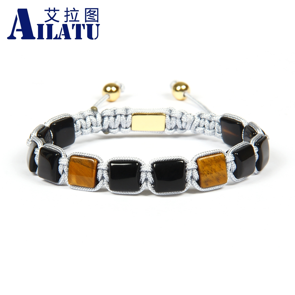 Ailatu Wholesale 10pcs lot 8x8mm Natural Black Onyx Tiger Eye Stone Flatbed Braided Square bracelet Nice