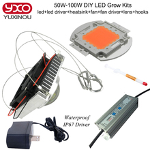 diy 50w 100w full spectrum hydroponics led grow light with full kits for medical hydroponics